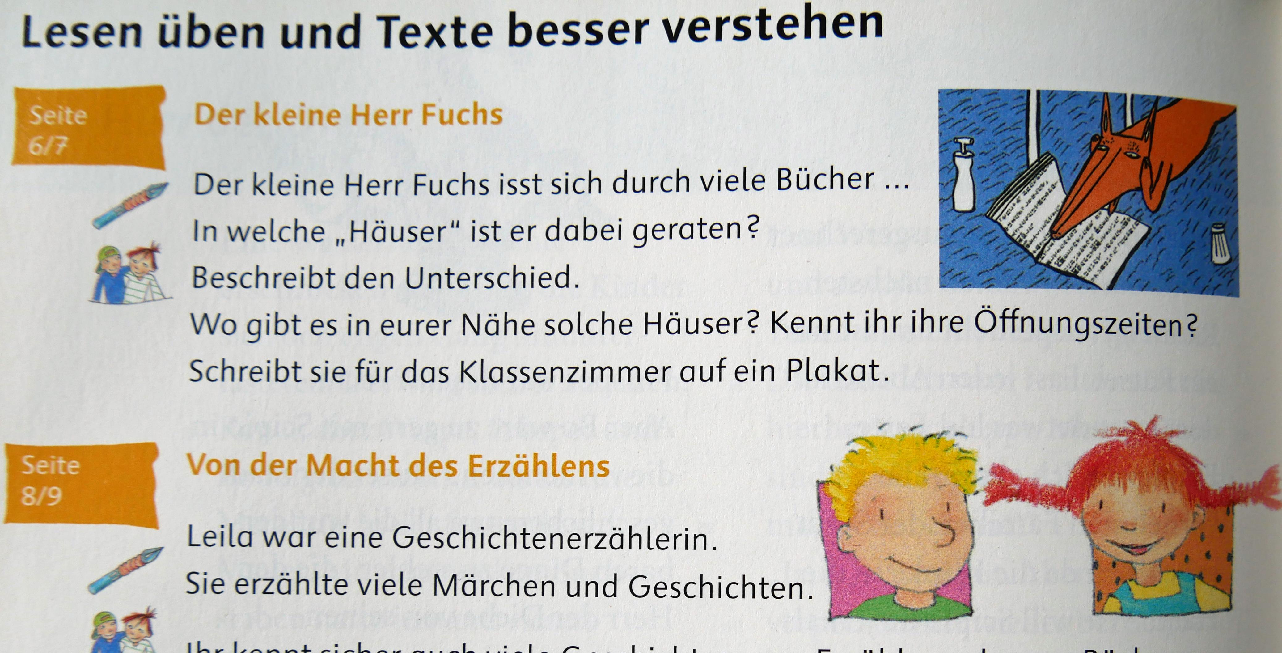 Auszug aus einem Deutschbuch 4. Klasse. Foto: Uwe Roth
