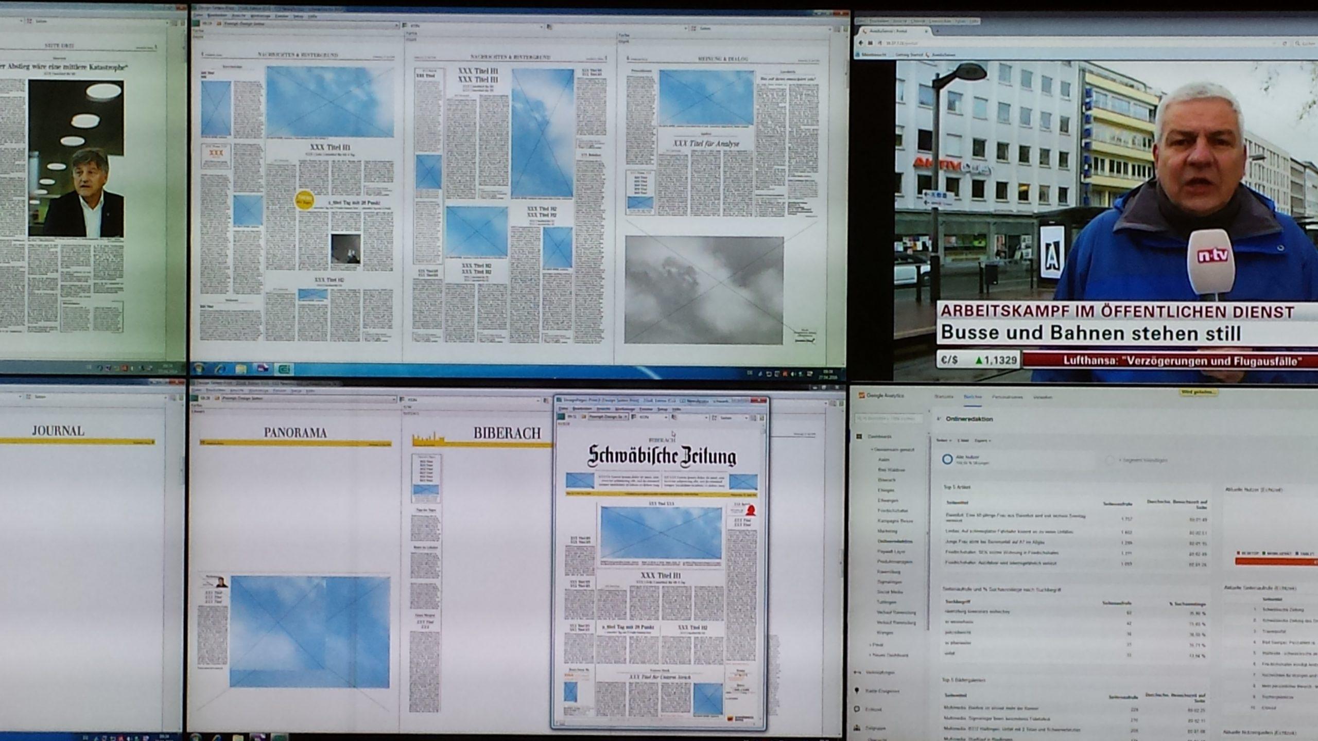 Newsroom Zeitungswand. Foto: Uwe Roth